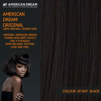 American Dream Yaki Straight Original American Indian Human Hair Weft/Weave Colour 1B - Nat.Black